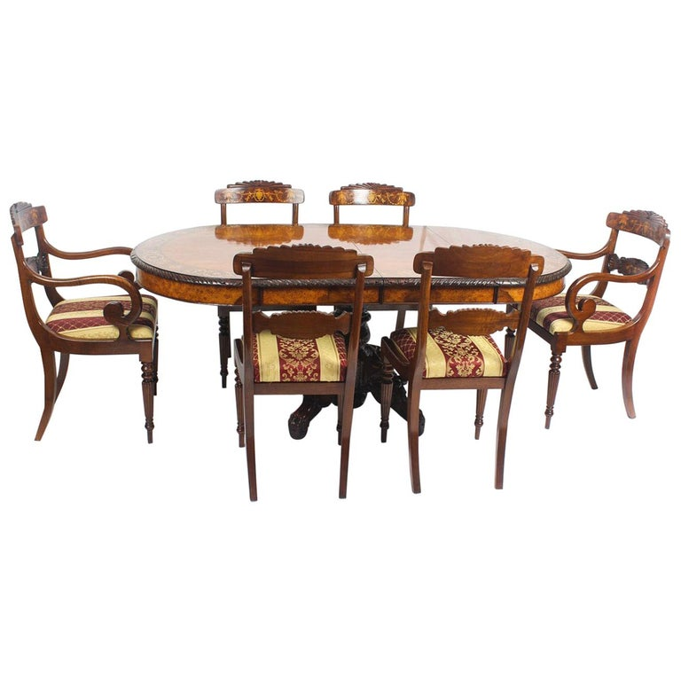 Pollard Oak Marquetry Oval Victorian Dining Table And 6 Chairs 19th Century For