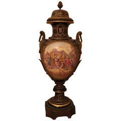 19th Century Gilt Metal Mounted Sevres French Porcelain Vase