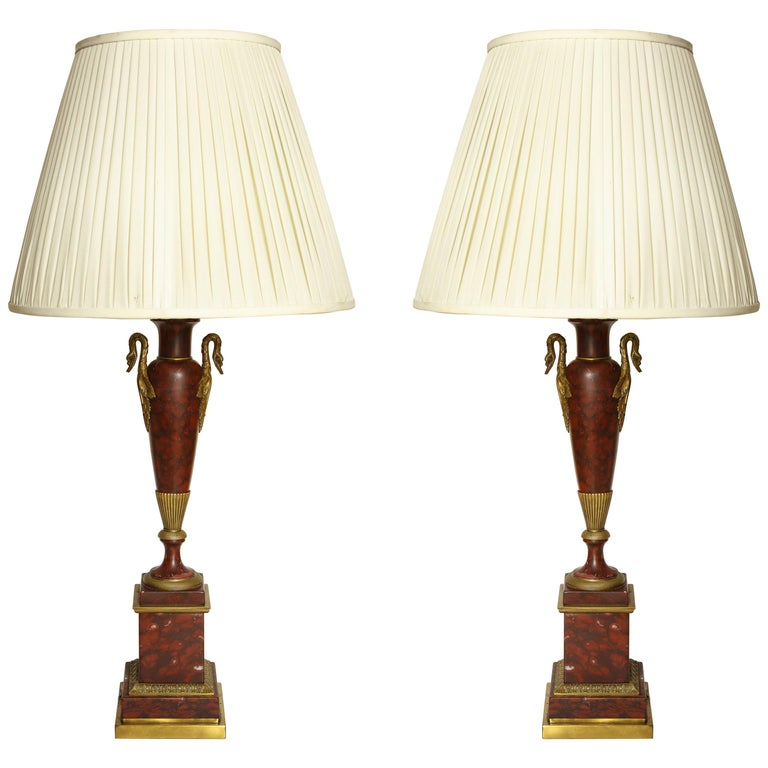 Empire Bronze Mounted Marble Table Lamps For Sale