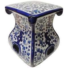 Vintage Blue and White Ceramic Painted Garden Stool