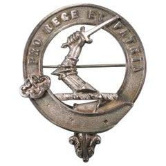 Cameron Scottish Antique Silver Clan Badge, circa 1880