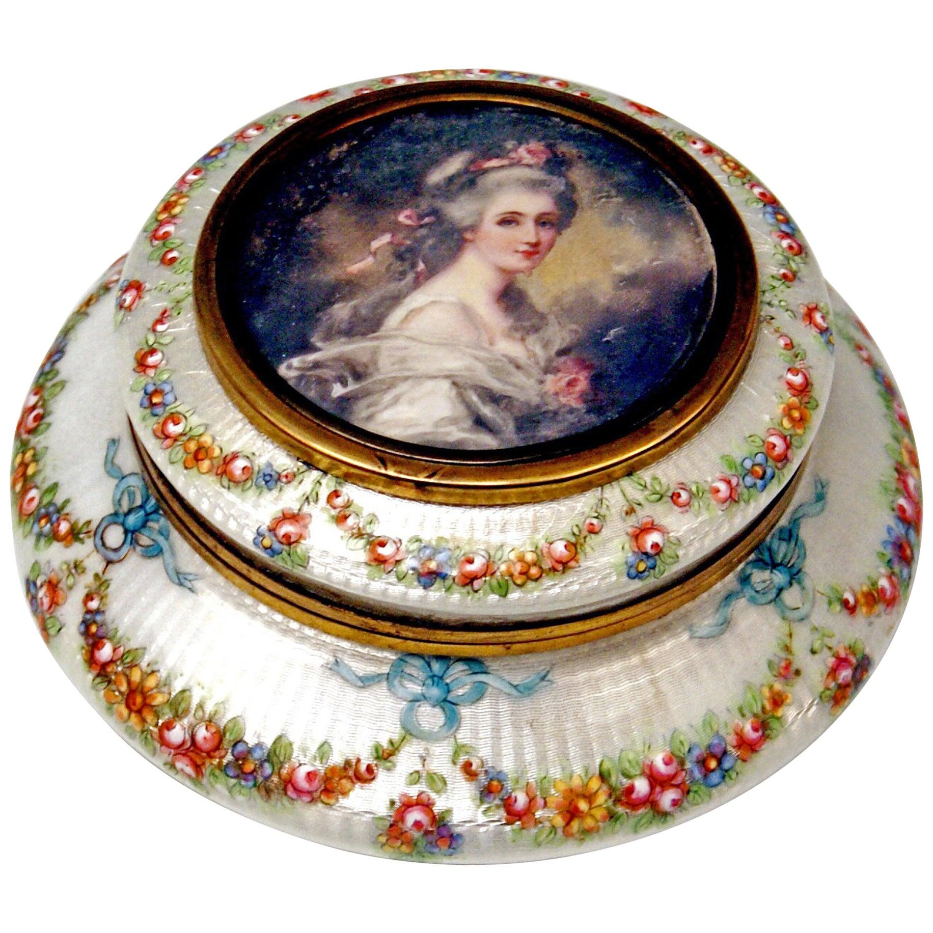 Enamel Box Gilt Inside Painted Flowers Garlands Lady's Portrait, France