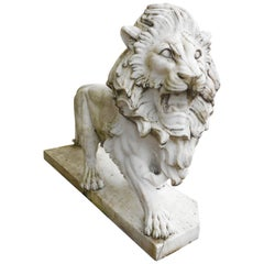 Elegant Pair of White Marble Lion Statues