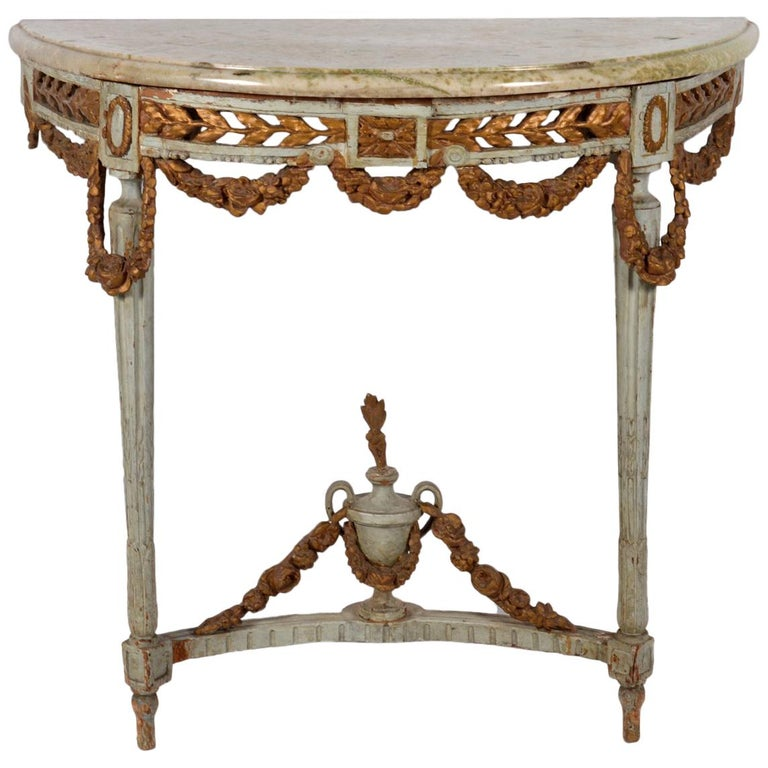 Italian 18th Century Neoclassical Marble Top Paint and Parcel Gilt Console Table For Sale