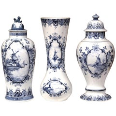 Set of Three Mid-20th Century Dutch Blue and White Delft Ginger Jars and Vase