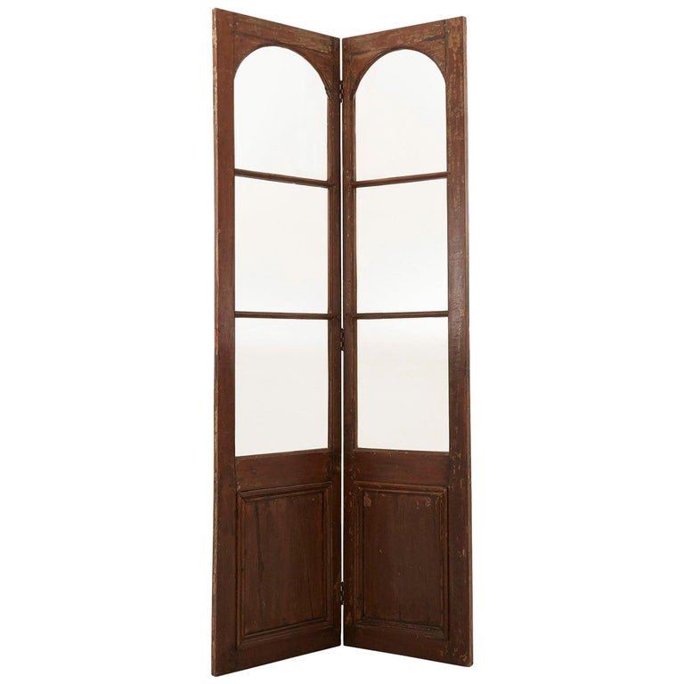 Late 19th Century Glass and Wood Room Divider