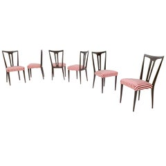 Set of Six Ebonized Wood and Ivory and Red Fabric Dining Chairs, Italy, 1950s