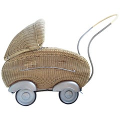 Midcentury Streamline Child's Wicker Pram