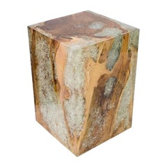Organic Teak Wood and Cracked Resin Cube Table