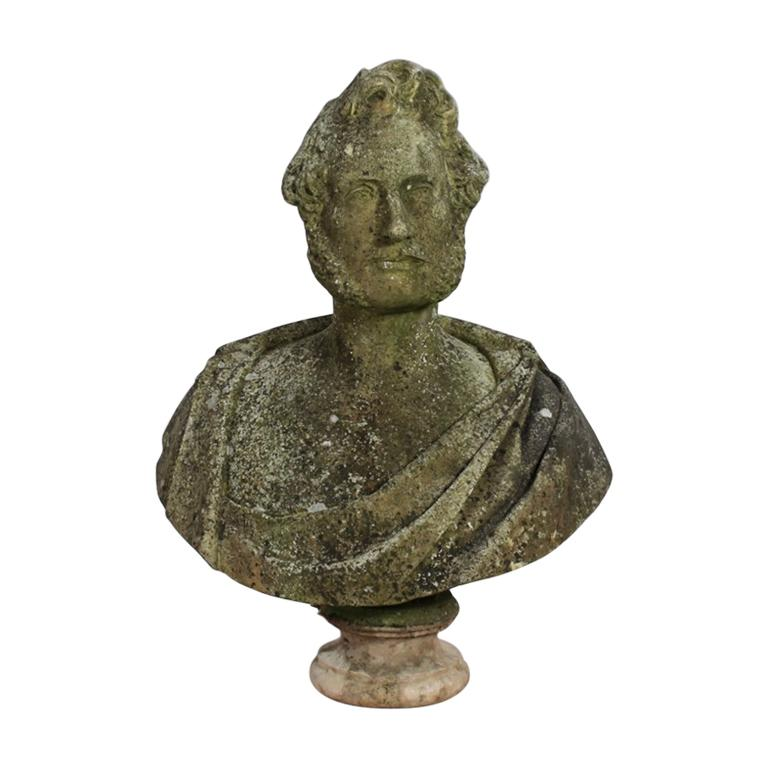 Large 19th Century Beautifully Weathered Carved Marble Bust of Prince Albert