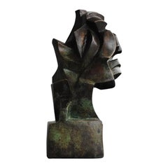 Contemporary Cubist Head in Bronze by Perrine Le Bars