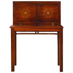 Superior 20th Century Anglo-Chinese Style Brass Inlaid Hardwood Game Table