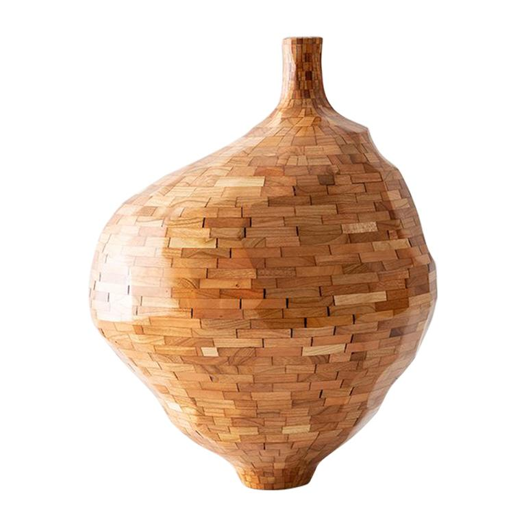 Contemporary American Wooden Faceted Vase, Cherry, Small Sculpture, in Stock For Sale