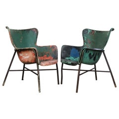 Lawrence Peabody Fiberglass Wing Chairs in Brilliant Worn Old Painted Surface