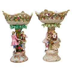 Meissen Two Centrepieces Fruit Bowls Gardener Couple Model 2772 Leuteritz
