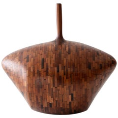 Contemporary American Wooden Vase, Pencil Neck, Redwood, Sculpture, in Stock
