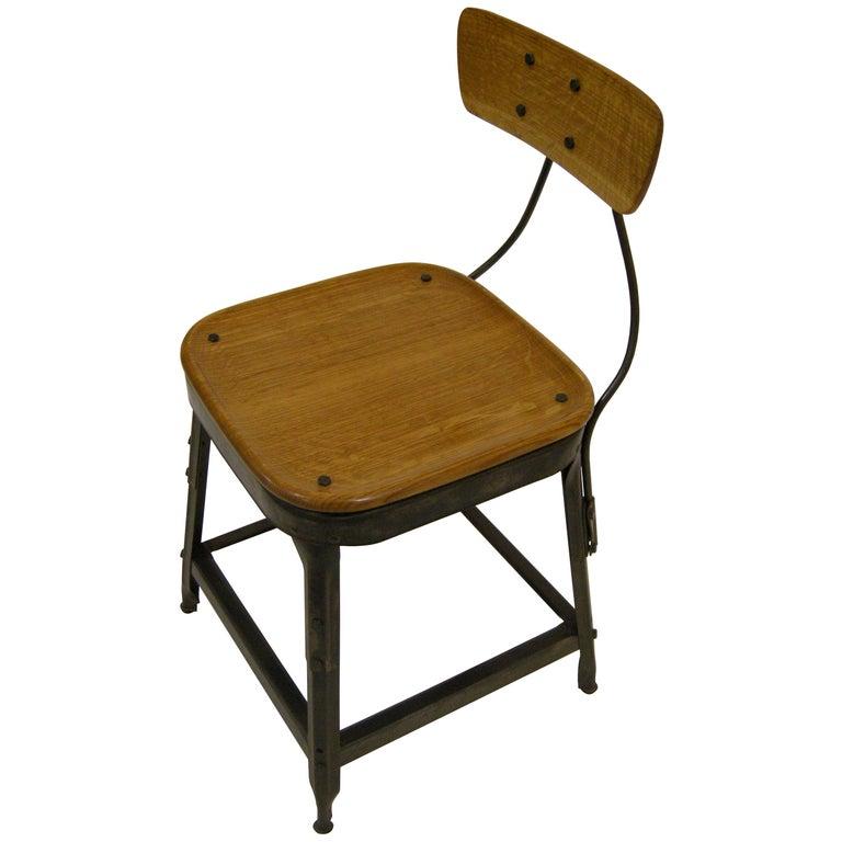 Contemporary American Steel Factory Chair, Oak, Blackened, in Stock