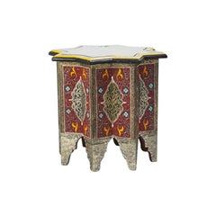Moroccan Hand-Painted and Brass Inlaid End or Lamp Table