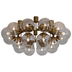 Large Hotel Chandelier in Brass Fixture and 20 Large Hand-Blowed Glass Globes