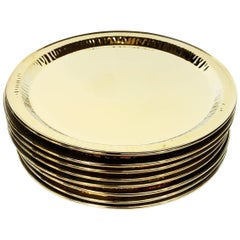 Seletti Gold Porcelain Plates Estetico Quotidiano Collection, a Set of 8