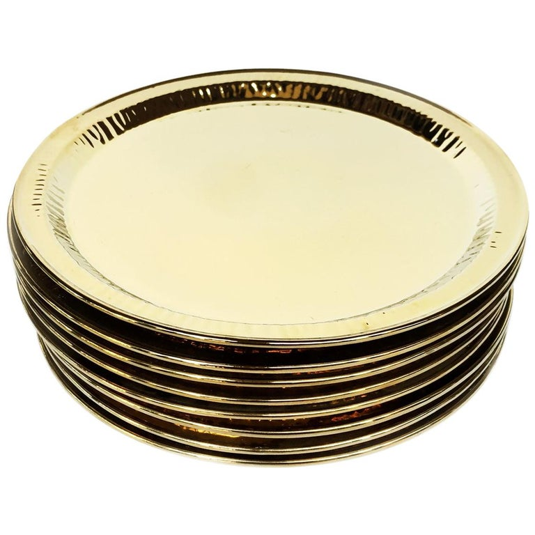 Seletti Gold Porcelain Plates Estetico Quotidiano Collection, a Set of 8 For Sale