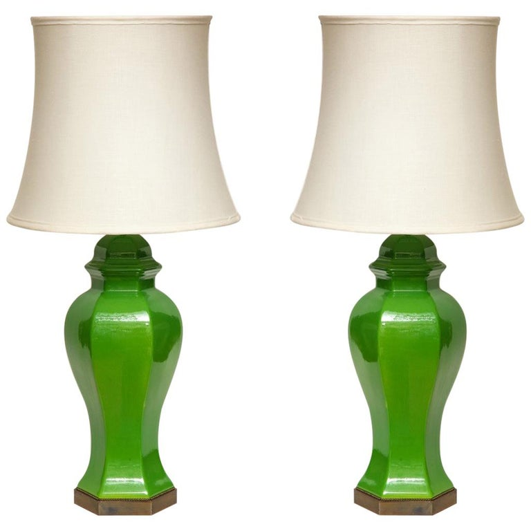 Pair of Chinese Apple Green Glazed Urns Fitted as Lamps For Sale