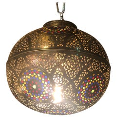 Moroccan Ball-Shaped Copper and Multi-Color Glass Pendant Lighting