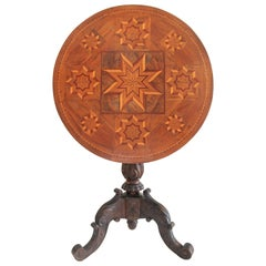Antique Table with 19th Century Marque Inlaid Stars Top