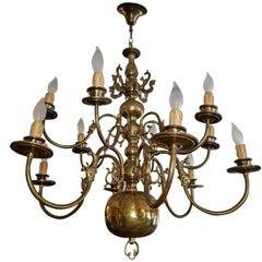 19th Century Dutch Baroque 2-Tier 12-Branch Brass Chandelier