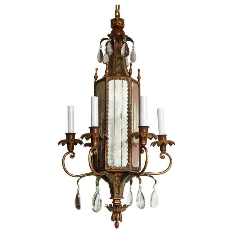 Six-Light Tole Peinte and Crystal Hanging Lantern For Sale