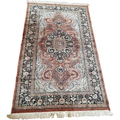 Vintage Indian Kashmir Silk Floor Rug