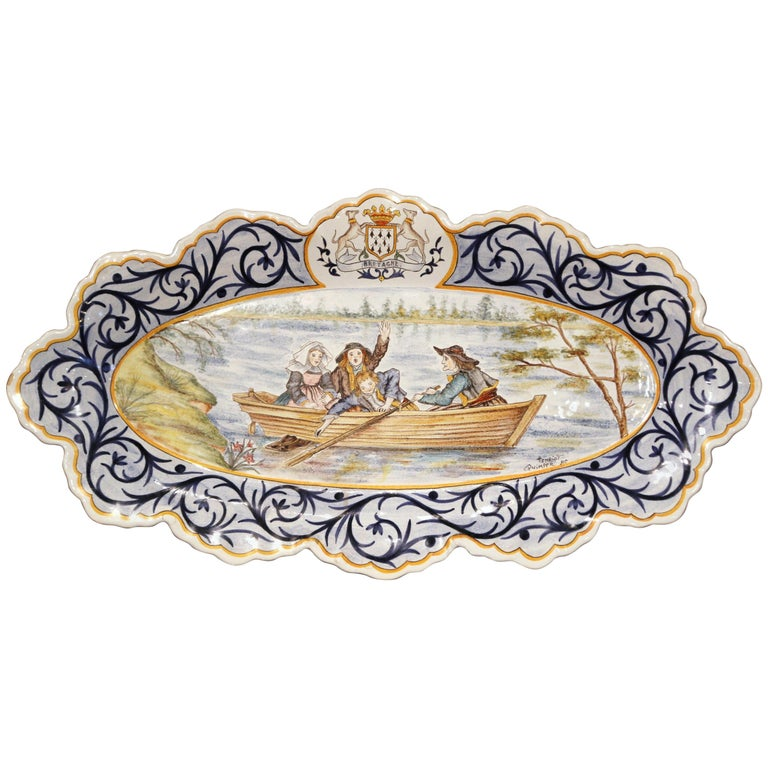 Large Early 20th Century French Quimper Faience Oval Hand-Painted Wall Platter