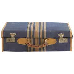 Tweed Wrapped Suitcase with Leather Handle