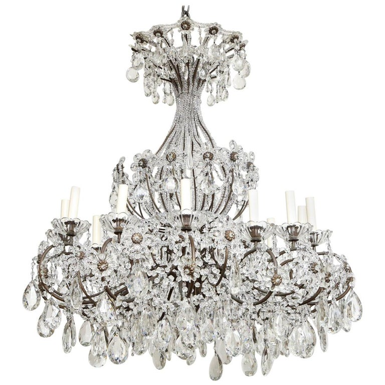 Italian Wrought-Iron Crystal Beaded Chandelier For Sale