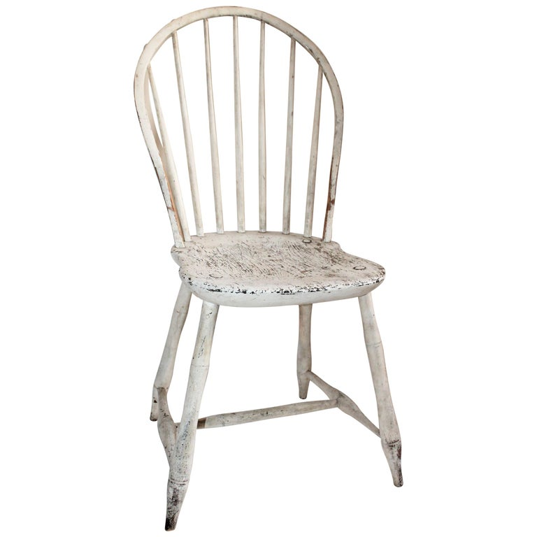 Antique Windsor Chair in Original White Painted Surface For Sale