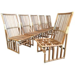 Set of Six Bamboo Dining Chairs by Kipp Stewart for Summit Furniture