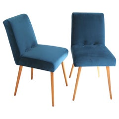 Set of Two Blue Marine Chairs in Velvet