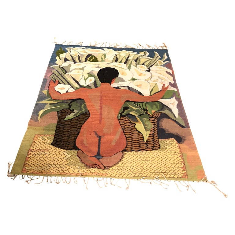 Wool Area Rug or Wall Hanging of Diego Rivera Painting