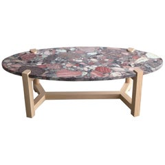 Pierce Coffee Table, Blue Aquarius Granite, Ash Hardwood, Oval