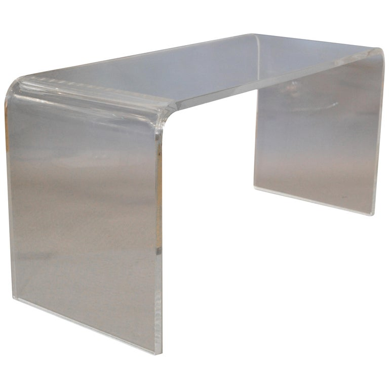 Clear Mid-Century Modern Waterfall Lucite Bench
