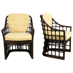 Brown Jordan Windowpane Dark Brown Rattan Lounge Chairs with Straw Color Cushion