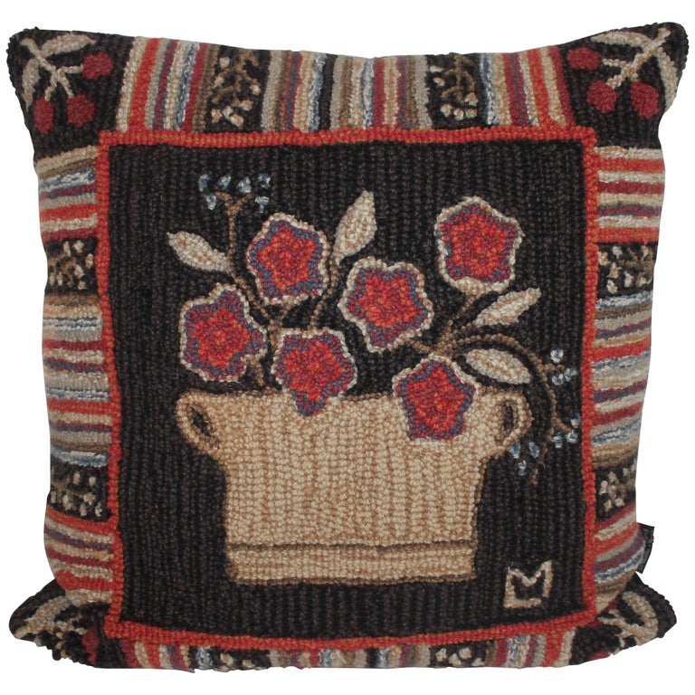 Hand Hooked Folk Art Rug Pillow For Sale