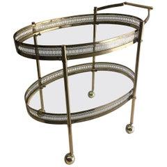 Elegant Two-Tier Brass Oval Bar Cart