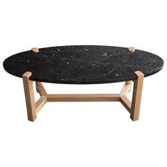 Pierce Coffee Table, Nero Marquina Marble, Maple Hardwood, Oval