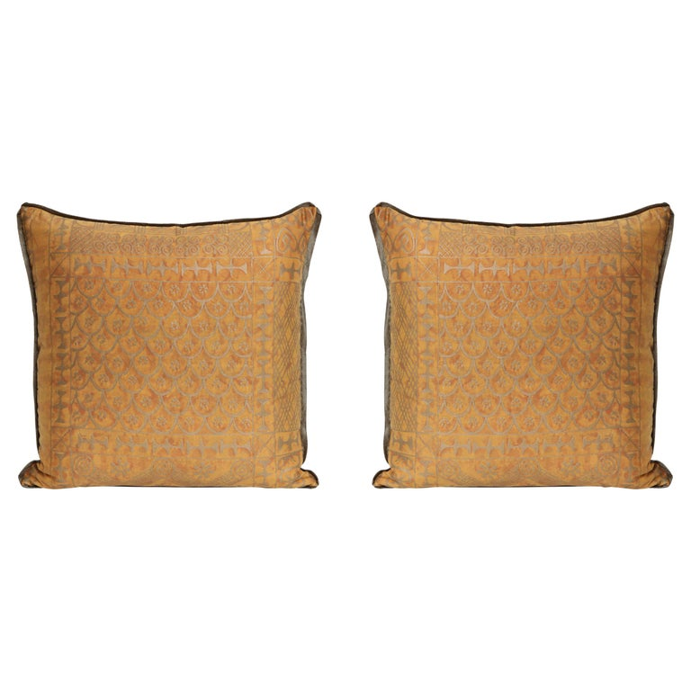 Fortuny Fabric Cushions in the Ashanti Pattern For Sale
