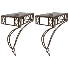Pair of Art Deco Style Iron Wall-Mounted Consoles