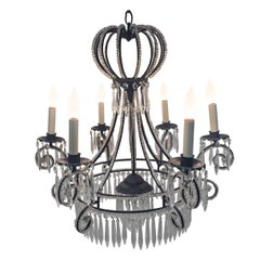 Very Pretty French Iron and Crystal Chandelier