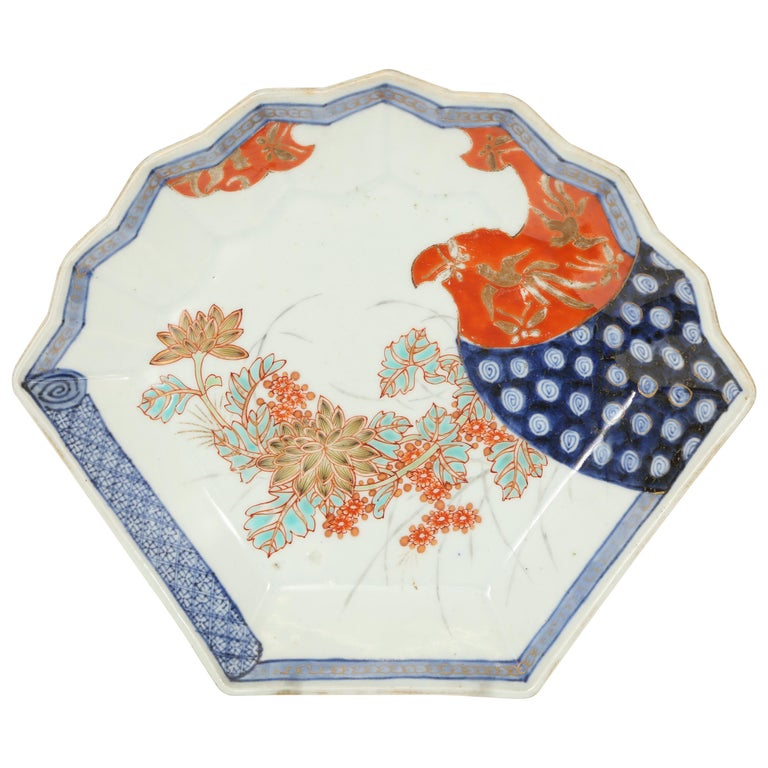 Imari Meiji Period Fan Shaped Porcelain Plate