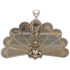 French Brass Figural Pierced Folding Fan Fire Place Screen, Circa 1820