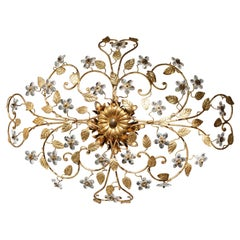 Italian Brass Flush Mount Chandelier with Crystal Flowers